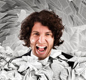 Screaming stressed from overwork Royalty Free Stock Images