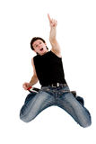 Screaming surprised man looking top Royalty Free Stock Photos