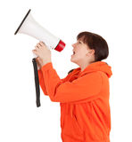 Screaming teenage girl with megaphone Stock Images