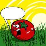 Screaming Tomato with speech bubble Royalty Free Stock Images