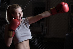 Screaming during training. Young pretty boxing girl screaming during her training Stock Photo