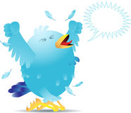 Screaming twitter bird. Blue twitter bird yelling and screaming either in pain or joy. Linear and radial gradients used. Bird can be used for social networking Royalty Free Stock Image