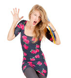 Screaming university student girl Royalty Free Stock Photos