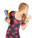 Screaming university student girl with books Stock Photography