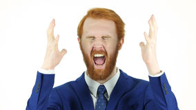 Screaming Upset Red Hair Beard Businessman Stock Image