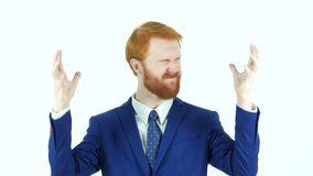Screaming Upset Red Hair Beard Businessman, White Background stock video footage