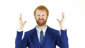 Screaming Upset Red Hair Beard Businessman, White Background Stock Photography