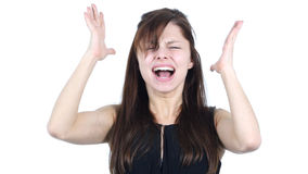 Screaming Upset Young Girl, White Background. High quality Royalty Free Stock Photography