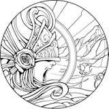 Screaming Valkyrie in unusual helmet. Screaming Valkyrie in an unusual helmet stock illustration