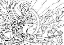 Line art valkyria, mountains, roses stock illustration