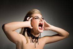 Screaming vamp woman Stock Photography