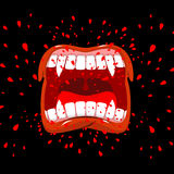 Screaming vampire. Dracula screams. Violent emotion. Open your m Stock Photo