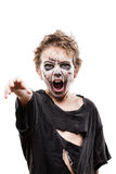 Screaming walking dead zombie child boy halloween horror costume Stock Photo