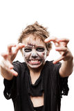 Screaming walking dead zombie child boy halloween horror costume Stock Image