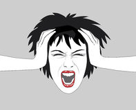 Screaming woman. Illustration of an excited woman Stock Photos