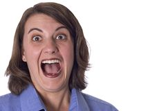 Screaming Woman. Young woman screaming.  Eyes and mouth wide open Stock Images