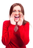 Screaming woman. Happy excited young woman screaming something to us royalty free stock images
