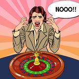 Screaming Woman Behind Roulette Table. Casino Gambling. Pop Art Royalty Free Stock Images
