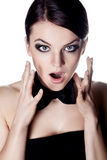 Screaming woman with bow tie Royalty Free Stock Photography