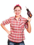 Screaming woman construction worker Stock Photos