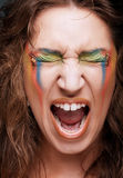 Screaming woman with creative professional make-up Royalty Free Stock Photos