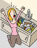 Screaming woman doing dishes Stock Photography