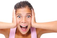 Screaming woman expression stock images