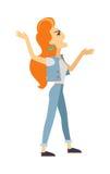 Screaming Woman Flat Vector Illustration Stock Image