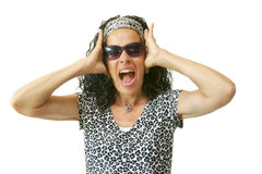 Screaming Woman Hands to Head Stock Images