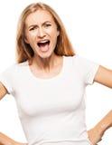Screaming woman. Isolated on white bacjground. Emotional stress, problems, frustration Stock Image