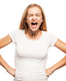 Screaming woman. Isolated on white bacjground. Emotional stress, problems, frustration, hysterical, desperation Stock Photo