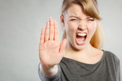 Screaming woman making gesture. Royalty Free Stock Photography