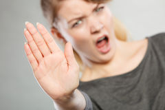 Screaming woman making gesture. Royalty Free Stock Images