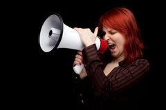 Screaming woman with megaphone Royalty Free Stock Photo