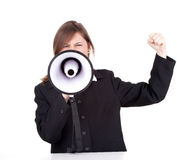 Screaming woman with megaphone Royalty Free Stock Images