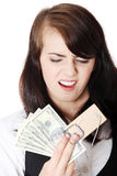 Screaming woman and mouse trap Stock Photos