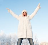 Screaming woman outdoors Stock Photography