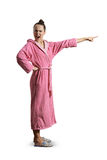 Screaming woman in pink dressing gown Stock Photo