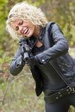Screaming Woman Shooting From Machine Gun Royalty Free Stock Photos