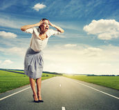 Screaming woman standing Royalty Free Stock Images