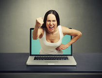 Screaming woman stretching out Royalty Free Stock Photography