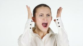 Screaming woman, white background. 4k  high quality stock footage