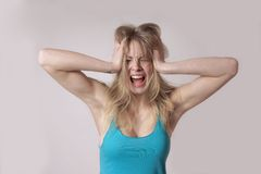 Screaming woman Stock Images