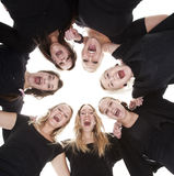 Screaming women. Group of Young Women from low angle view royalty free stock photography