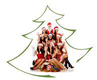 Screaming women and Santa Claus Royalty Free Stock Image