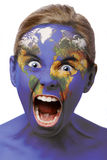 Screaming world. Child screaming with world painted on her face Stock Photography