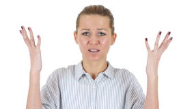 Screaming, yelling businesswoman, white background. 4k  high quality stock footage