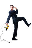 Screaming young businessman holding drill Stock Photography