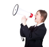 Screaming young businesswoman with megaphone Royalty Free Stock Photography