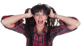 Screaming Young Woman Stock Images